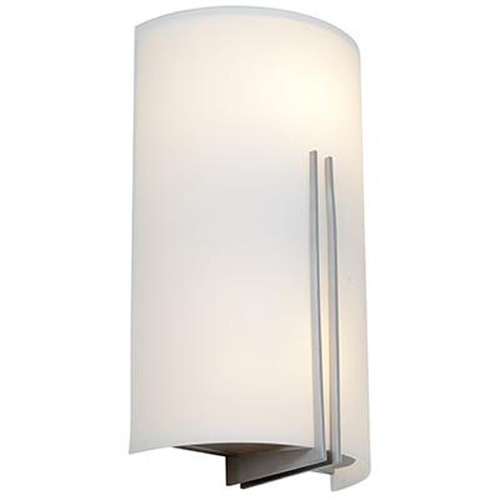 Access Lighting Modern Sconce Wall Light with White Glass in Brushed Steel Finish 20446-BS/WHT