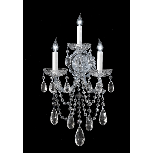 Crystorama Lighting Crystal Sconce Wall Light in Polished Chrome Finish 4423-CH-CL-SAQ