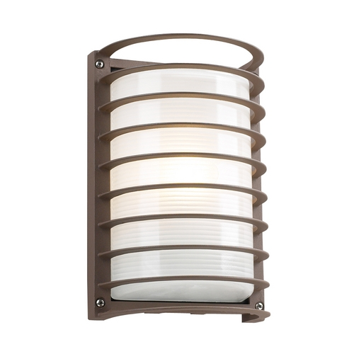 PLC Lighting Modern Outdoor Wall Light with White Glass in Bronze Finish 2038 BZ