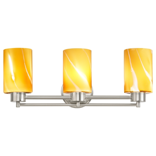 Design Classics Lighting Modern Bathroom Light with Butterscotch Art Glass in Satin Nickel Finish 703-09 GL1022C