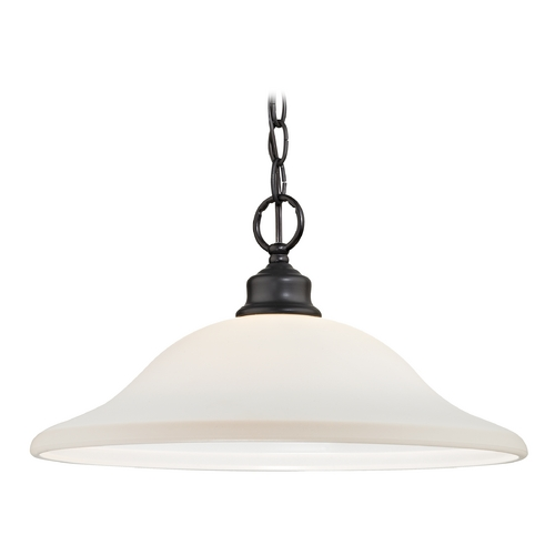 Design Classics Lighting Bronze Pendant Light with Opal White Dome Shade 7006-78