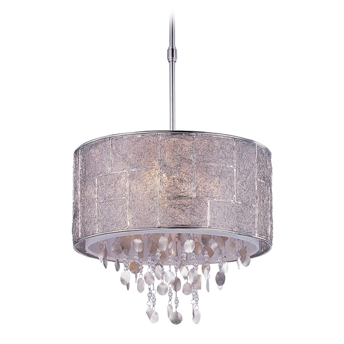 Maxim Lighting Crystal Drum Pendant Light in Polished Nickel Finish 21564TWPN