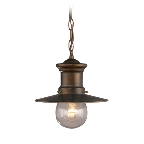 Elk Lighting Outdoor Hanging Light with Clear Glass in Hazlenut Bronze Finish 42007/1