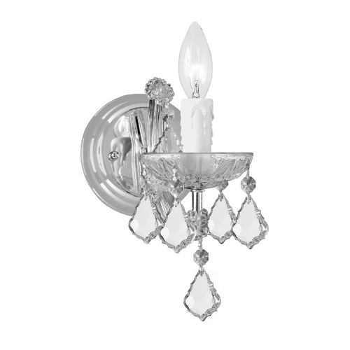 Crystorama Lighting Crystal Sconce Wall Light in Polished Chrome Finish 4471-CH-CL-MWP