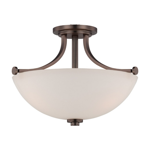 Nuvo Lighting Semi-Flushmount Light with White Glass in Hazel Bronze Finish 60/5117
