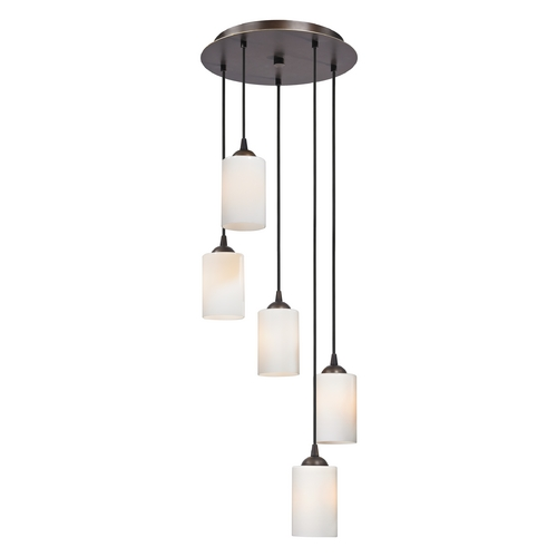 Design Classics Lighting Modern Multi-Light Pendant Light with White Glass and 5-Lights 580-220 GL1024C