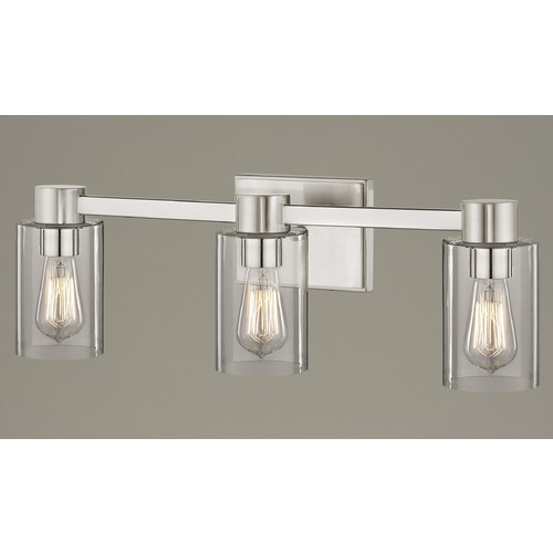 Design Classics Lighting 3-Light Clear Glass Bathroom Light Satin Nickel 2103-09 GL1040C