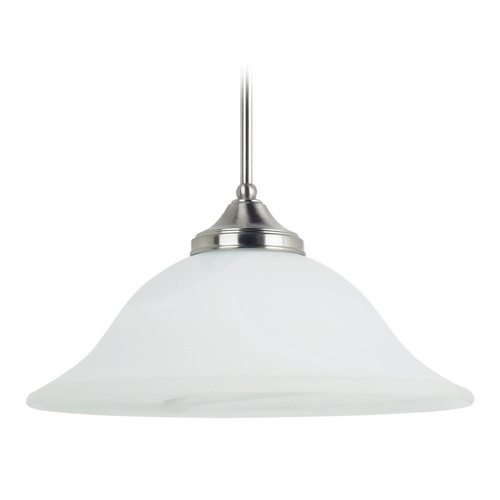 Sea Gull Lighting Pendant Light with Alabaster Glass in Brushed Nickel Finish 65174BLE-962