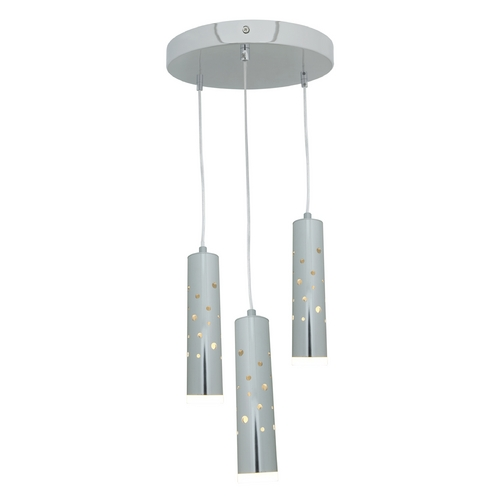 Access Lighting Access Lighting Rain Chrome LED Multi-Light Pendant with Cylindrical Shade 70049LED-CH/ACR