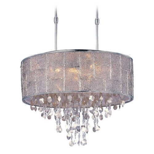 Maxim Lighting Crystal Drum Pendant Light in Polished Nickel Finish 21565TWPN