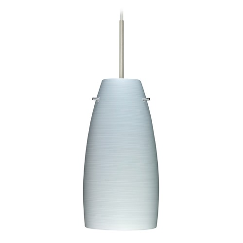 Besa Lighting Besa Lighting Tao Satin Nickel LED Mini-Pendant Light with Oblong Shade 1JT-1512KR-LED-SN