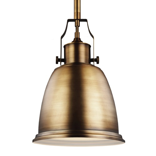 Feiss Lighting Feiss Hobson Aged Brass Mini-Pendant Light P1358AGB