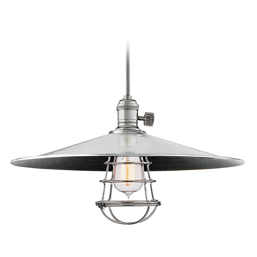 Hudson Valley Lighting Hudson Valley Lighting Heirloom Polished Nickel Pendant Light with Coolie Shade 8002-PN-ML1-WG