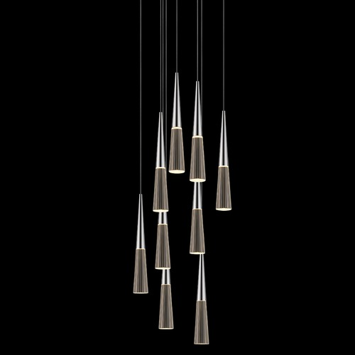 Sonneman Lighting Sonneman Spire Polished Chrome LED Multi-Light Pendant with Conical Shade 2944.01