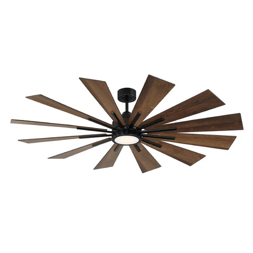 Savoy House Savoy House Lighting Farmhouse Matte Black LED Ceiling Fan with Light 60-760-12AO-89