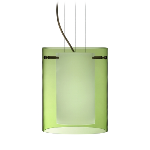 Besa Lighting Modern Pendant Light with Green Glass in Bronze Finish 1KG-L00607-BR