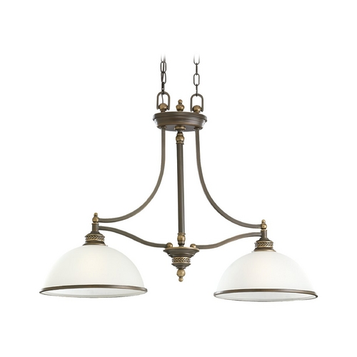Sea Gull Lighting Island Light with White Glass in Estate Bronze Finish 66350-708