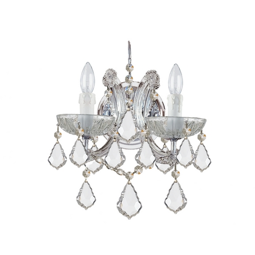 Crystorama Lighting Crystal Sconce Wall Light in Polished Chrome Finish 4472-CH-CL-S
