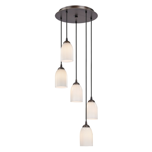 Design Classics Lighting Modern Multi-Light Pendant Light with White Glass and 5-Lights 580-220 GL1024D