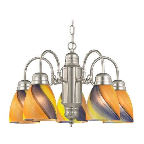 Design Classics Lighting Mini-Chandelier with Art Glass in Satin Nickel Finish 709-09 GL1015MB