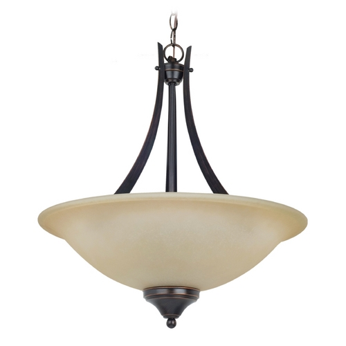 Sea Gull Lighting Pendant Light with Amber Glass in Burnt Sienna Finish 65175-710