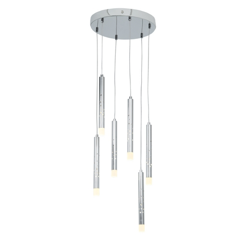 Access Lighting Access Lighting Rain Chrome LED Multi-Light Pendant with Cylindrical Shade 70050LED-CH/ACR