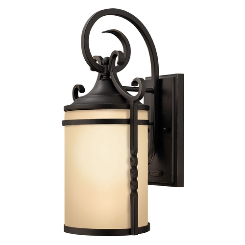 Hinkley Outdoor Wall Light with Amber Glass in Olde Black Finish 1140OL