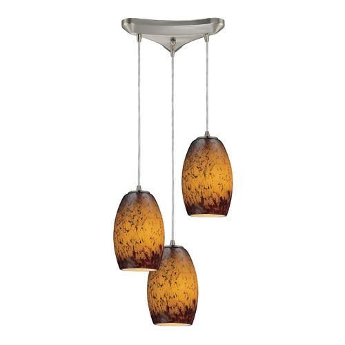 Elk Lighting Modern Multi-Light Pendant Light with Amber Glass and 3-Lights 10220/3SUN