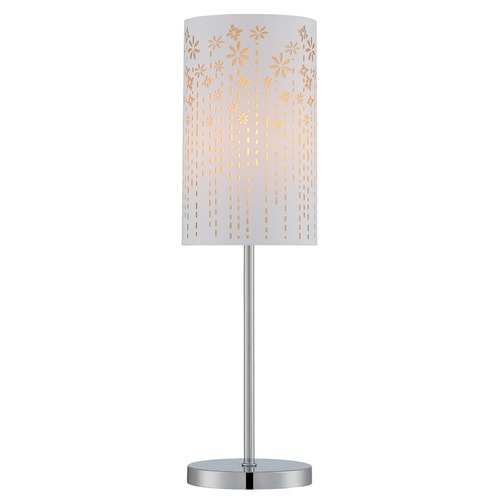 Lite Source Lighting Lite Source Lighting Poppy Chrome Table Lamp with Cylindrical Shade LS-22720GOLD