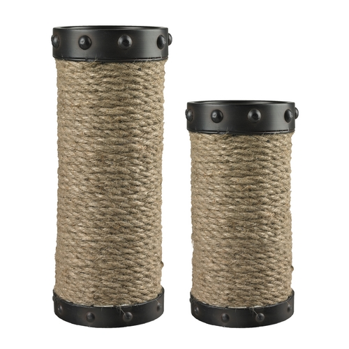 Sterling Lighting Sterling Lighting Aged Bronze / Natural Rope Candle Holder 129-1035