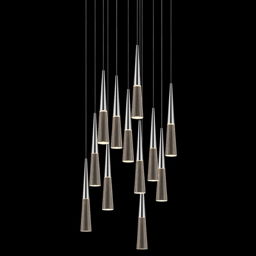 Sonneman Lighting Sonneman Spire Polished Chrome LED Multi-Light Pendant with Conical Shade 2945.01