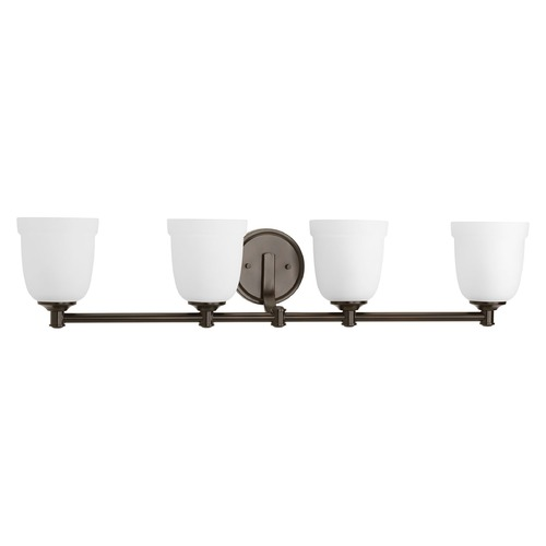 Progress Lighting Bronze 4-Light Vanity Light with Etched Glass by Progress Lighting P300060-020