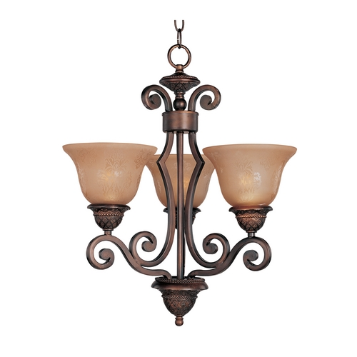 Maxim Lighting Mini-Chandelier with Amber Glass in Oil Rubbed Bronze Finish 11235SAOI