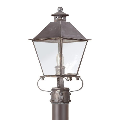 Troy Lighting Post Light with Clear Glass in Natural Rust Finish P9132NR
