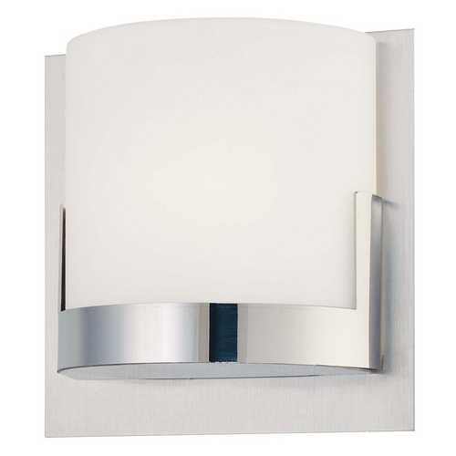 George Kovacs Lighting Modern Sconce Wall Light with White Glass in Chrome Finish P5952-077