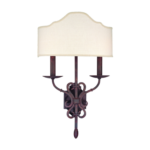 Troy Lighting Sconce Wall Light with White Shade in Weathered Iron Finish B2522WI