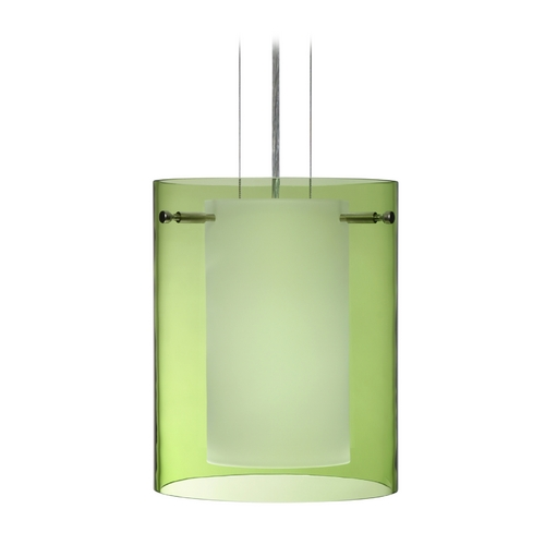 Besa Lighting Modern Pendant Light with Green Glass in Satin Nickel Finish 1KG-L00607-SN