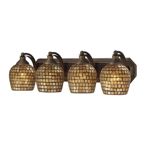 Elk Lighting Bathroom Light with Art Glass in Aged Bronze Finish 570-4B-GLD