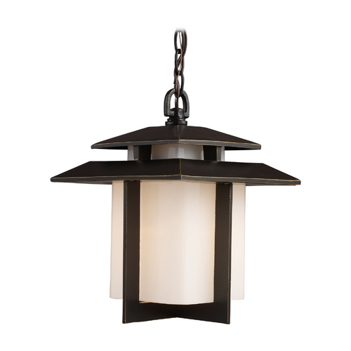 Elk Lighting Outdoor Hanging Light with White Glass in Hazlenut Bronze Finish 42172/1
