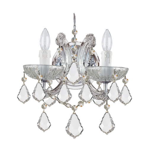 Crystorama Lighting Crystal Sconce Wall Light in Polished Chrome Finish 4472-CH-CL-SAQ