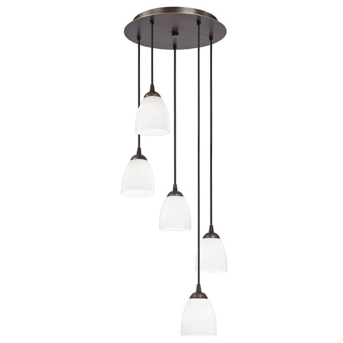 Design Classics Lighting Modern Multi-Light Pendant Light with White Glass and 5-Lights 580-220 GL1024MB
