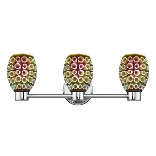 Design Classics Lighting Aon Fuse Chrome Bathroom Light and 3-D Glass with Ring Pattern 1803-26 GL1034-R