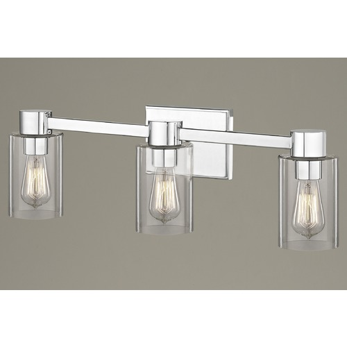 Design Classics Lighting 3-Light Clear Glass Bathroom Light Chrome 2103-26 GL1040C