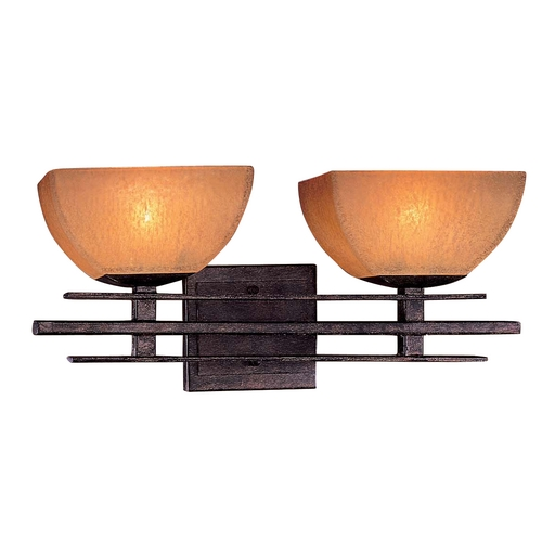 Minka Lavery Minka Lighting Iron Oxide Two-Light Bathroom Light with Scavo Glass 6272-357