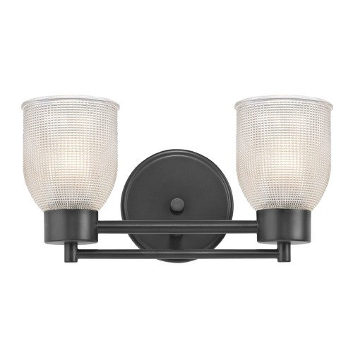 Design Classics Lighting Prismatic Glass Modern Bathroom Light Black 2 Lt 702-07 GL1058-FC