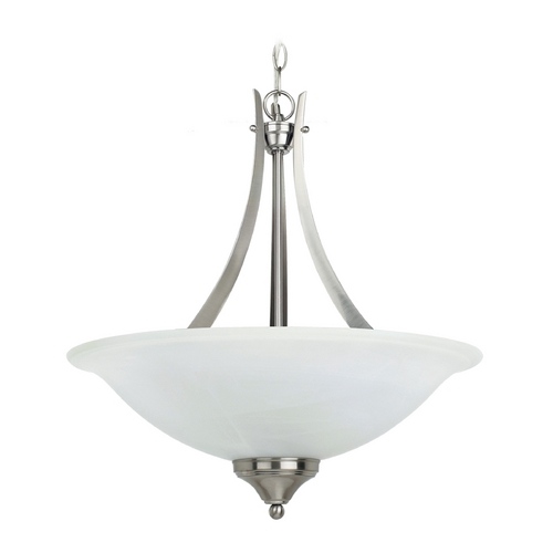 Sea Gull Lighting Pendant Light with Alabaster Glass in Brushed Nickel Finish 65175-962