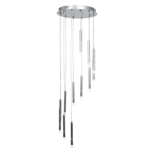 Access Lighting Access Lighting Rain Chrome LED Multi-Light Pendant with Cylindrical Shade 70052LED-CH/ACR