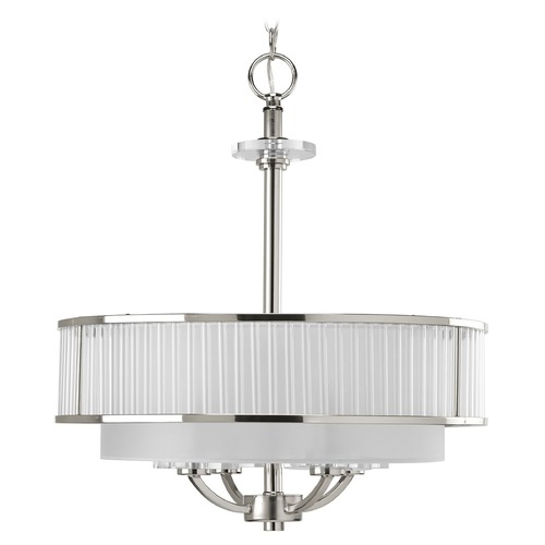 Progress Lighting Progress Crystal Drum Polished Nickel Pendant Light with Silver P3881-104