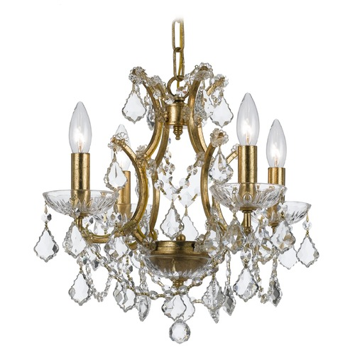 Crystorama Lighting Crystorama Filmore 4-Light Crystal Chandelier in Antique Gold 4454-GA-CL-S
