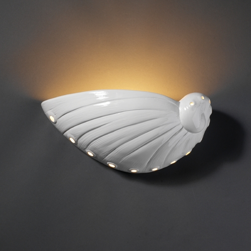 Justice Design Group Sconce Wall Light in Gloss White Finish CER-3720-WHT
